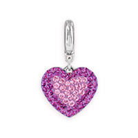 Swarovski Crystal Pavé Heart Charm 14mm Light Amethyst, Amethyst (1-Pc)