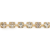 Preciosa Crystal Rhinestone Gold Plated Cup Chain 2mm (Priced Per Foot)