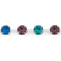 Preciosa Multi Colored Crystal Rhinestone Silver Plated Cup Chain 4mm (Priced Per Foot)
