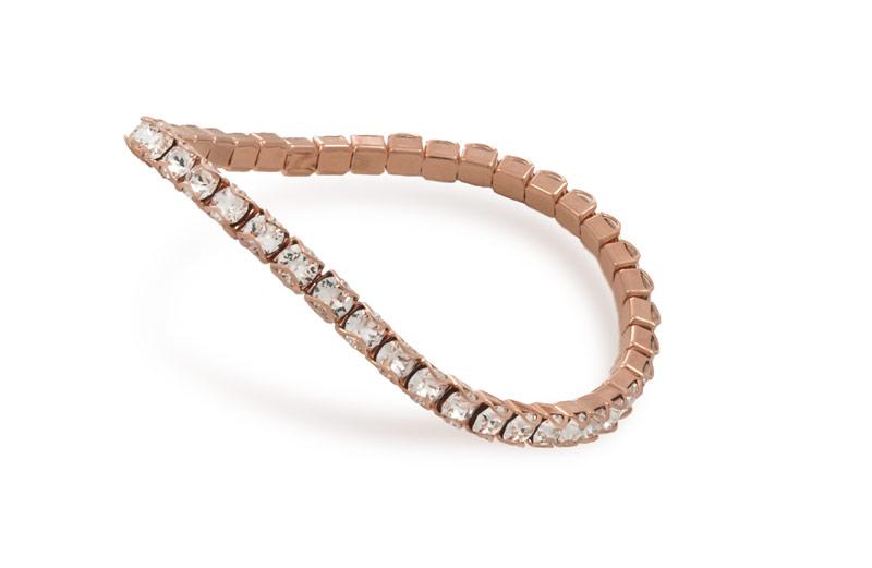 Swarovski Crystal Rose Gold Plated Catch Free 4mm Stretch Bracelet 1 Pc