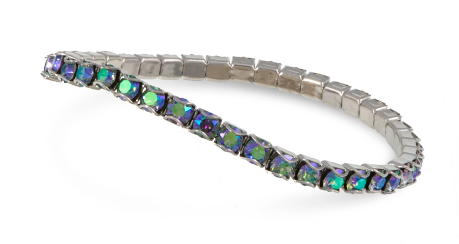 Swarovski Crystal Paradise Shine Rhodium Plated Catch Free 4mm Stretch Bracelet