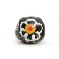 Round Black/White Flower Ghana Hand-Painted Sandcast Bead 11mm (3-Pcs)