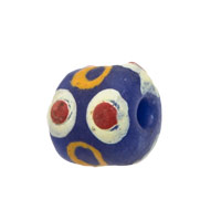 11mm Dark Blue Orange Ghana Hand-Painted Sandcast Bead (3-Pcs)