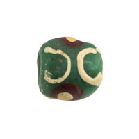 11mm Green Brown Tan Ghana Hand-Painted Sandcast Bead (3-Pcs)