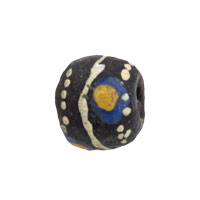 11mm Black Tan Blue Ghana Hand-Painted Sandcast Bead (3-Pcs)