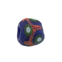 11mm Navy Green Red Ghana Hand-Painted Sandcast Bead (3-Pcs)