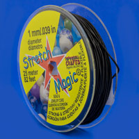 1mm Black Stretch Magic Bead Cord (25 Meters)