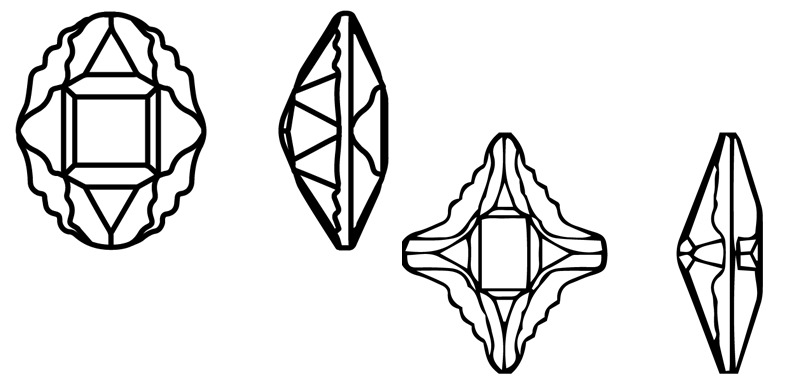 Swarovski 4926 & 4927 Tribe Oval and Rhombus Fancy Stone Line Drawing