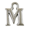 M Initial Charm 16x11mm Pewter Antique Silver Plated
