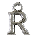 R Initial Charm 16x11mm Pewter Antique Silver Plated
