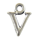 V Initial Charm 16x11mm Pewter Antique Silver Plated