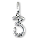 Number 3 Charm 23x8mm Pewter Antique Silver Plated (1-Pc)