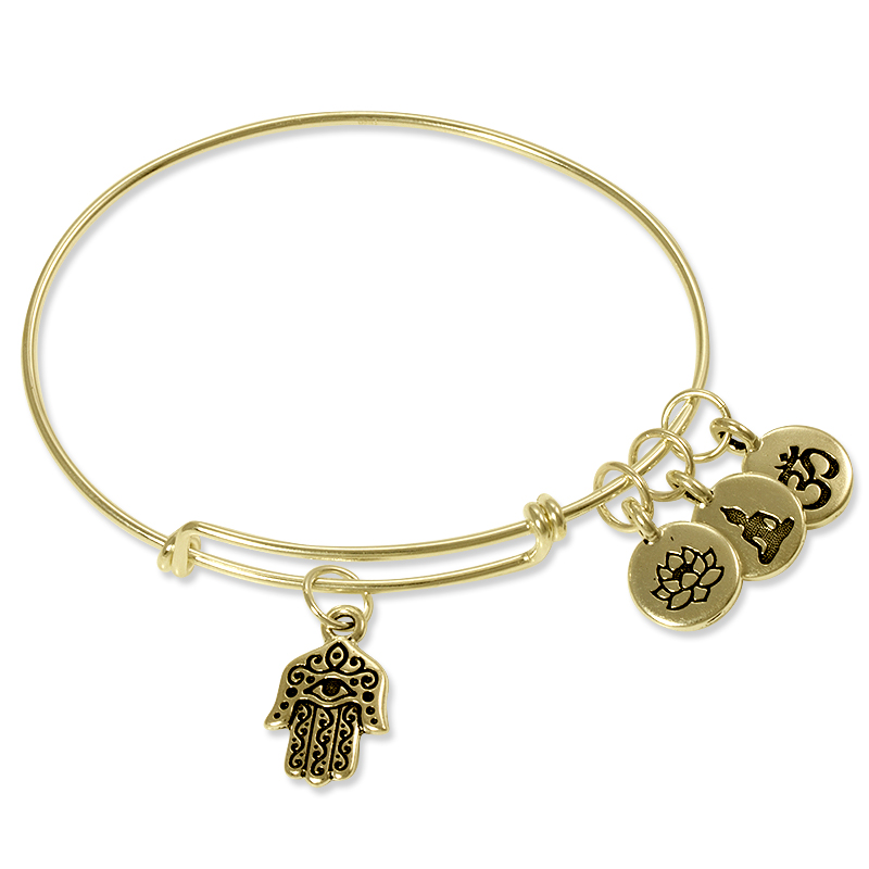 Charm Bangle Bracelet Gold Filled