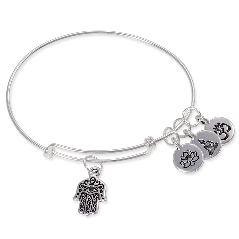 Adjule Charm Bangle Bracelet Sterling Silver