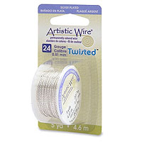 Artistic Wire 24ga Tarnish Resistant Silver Twisted (5 Yards)