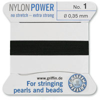 #1 Black Griffin Nylon Bead Cord (2 Meters)