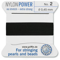 #2 Black Griffin Nylon Bead Cord (2 Meters)