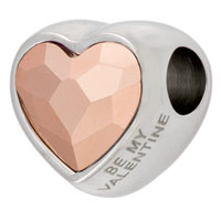 Swarovski Crystal BeCharmed 82081 14mm Rose Gold Heart Bead (1-Pc)