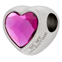 Swarovski Crystal BeCharmed 82081 14mm Fuchsia Heart Bead (1-Pc)