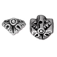 Bead Cap - Luna 9x10mm Pewter Antique Silver Plated (1-Pc)
