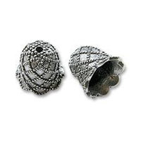 Bead Cap - Diamond Pattern 12mm Pewter Antique Silver Plated (1-Pc)