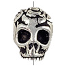 TierraCast Bead Rose Skull 10x10mm Pewter Antique Silver (1-Pc)
