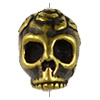 TierraCast 10x10mm Antique Brass Plated Pewter Rose Skull Bead (1-Pc)