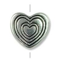 10x11mm Pewter Radiating Heart Bead (1-Pc)