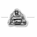 Buddha Bead 9.5x8mm Pewter Antique Silver Plated (1-Pc)