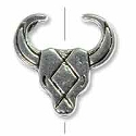 Southwestern Cow Skull Bead 14mm Pewter Antique Silver Plated (1-Pc)