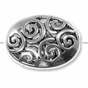 Filigree Puffed Oval Bead 19x14mm Pewter Antique Silver Plated (1-Pc)
