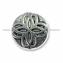 10mm Pewter Clover Coin Bead with Scrollwork (1-Pc)