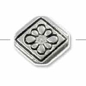 Diamond with Flower Bead 11x10mm Pewter Antique Silver Plated (1-Pc)