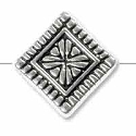 Art Deco Diamond Bead 10mm Pewter Antique Silver Plated (1-Pc)