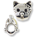 Large Hole Metal Cat Face Bead 12mm Pewter Antique Silver Plated (1-Pc)