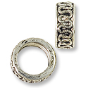 Large Hole Metal Bead with Scrollwork 8x3.5mm Pewter Antique Silver Plated (1-Pc)