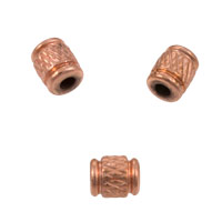 5.5x4.5mm Copper Cross Hatch Tube Bead (3-Pcs)