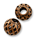Filigree Bead 8mm Antique Copper Plated Round (10-Pcs)