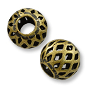 Filigree Bead 8mm Antique Brass Plated Round (10-Pcs)
