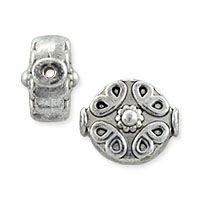 Designer Bali-Style Bead 11x12.5mm Nickel Silver (4-Pcs)