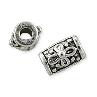 Designer Bali-Style Barrel Beads 10.5x9mm Nickel Silver (1-Pc)