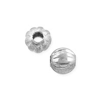 Corrugated Round Bead 3mm Silver Plated (10-Pcs)