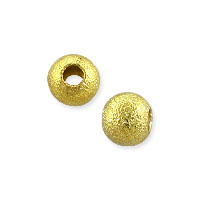 Frosted Round Bead 4mm Gold Plated (10-Pcs)
