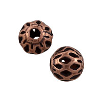 Filigree Round Bead 6mm Antique Copper Plated (10-Pcs)