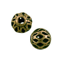Filigree Round Bead 6mm Antique Brass Plated (10-Pcs)
