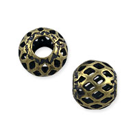 Filigree Round Bead 8mm Antique Brass Plated (10-Pcs)