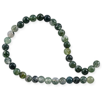 Moss Agate Round Beads 4mm (15