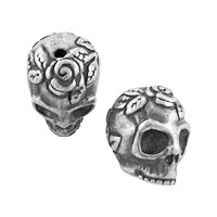 TierraCast Bead Rose Skull 10.25x10.25mm Pewter Antique Silver (1-Pc)