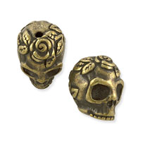 TierraCast 10.25x10.25mm Antique Brass Plated Pewter Rose Skull Bead (1-Pc)