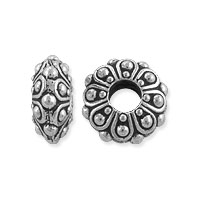 TierraCast Bead Casbah Large Hole 12x5.5mm Pewter Antique Silver (1-Pc)
